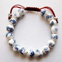 Amazon.com: Hand Crafted Vintage Style Porcelain Dragon Beads Bracelet: Jewelry