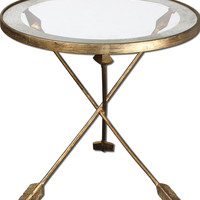 Aero Glass Top Accent Table Forged Iron With Antiqued Gold Leaf Finish