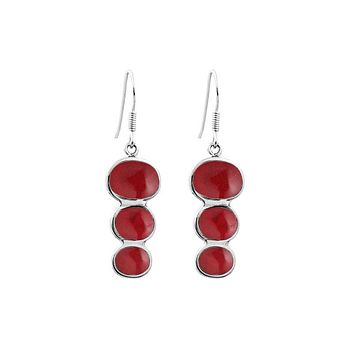 AE-1007-CR Sterling Silver Tripple Drop Earring With Coral