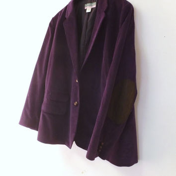 Vintage 80s 90s Winks Lane Size 42 Purple Corduroy Suede Elbow Patch Suit Coat Fall Jacket Blazer Professor Oxford 80s does 50s Mad Men