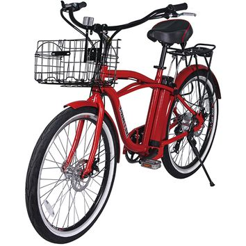 X-Treme Newport Elite 24 Volt Electric Beach Cruiser Bicycle Bike Red NEW