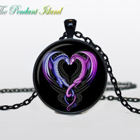 DRAGON HEART NECKLACE heart from dragon pendant valentine day gift dragon jewelry heart pendant for men for her for him his and her necklac