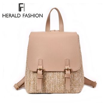Herald Fashion Straw Woven Backpack Womens