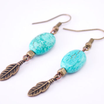 Turquoise gemstone feather earrings // feather charm earrings // turquoise dangle earrings // bronze and turquoise earrings // boho earrings