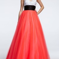 Strapless Satin and Tulle Color Block Prom Dress - David's Bridal