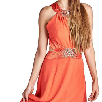Women's Embellished High Low Evening Gown