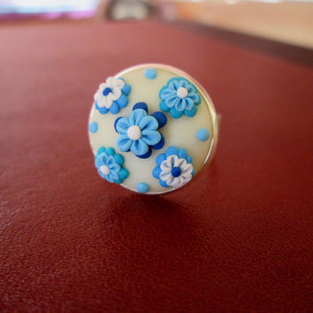 turquoise floral ring,turquoise cameo ring,polymer clay ring,artisan ring,cameo ring,vintage cameo,ready to ship jewelry,gift ideas for mom