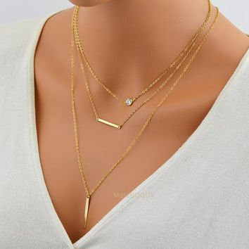 Perfect Layering Necklace / CZ Necklace / Skinny Vertical Bar Necklace / 14k Gold Fill Chain / Minimal Gold Bar Pendant / Diamond Necklace