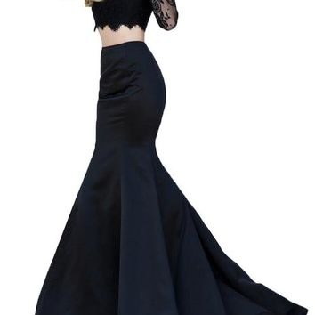 Firose Trumpet V-Back Long Sleeves Black Lace Two-Piece Prom Dress Black US 6