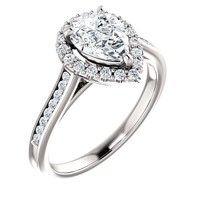 1.25 Ct Pear Diamond Engagement Ring 14k White Gold