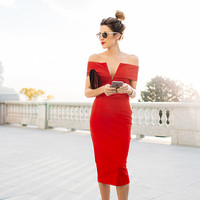 Red Off-Shoulder V Neck Midi Dress