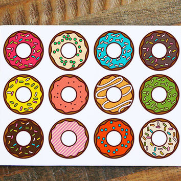 All Occasion Card with Donuts, Donut card, greeting cards, gift card, gift note, thinking of you card, hello card, note cards, blank card