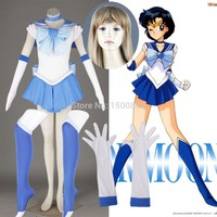 Athemis Anime  Sailor Moon Ami Mizuno / Sailor Mercury Cosplay Costume custom made Dress High Quality