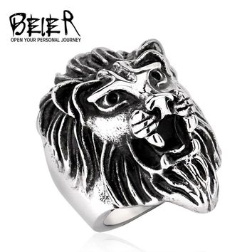 Lots Men's Fashion Stainless Steel Jewelry Cool Animal Lion Head Ring Punk Personality BR8-234 US Size
