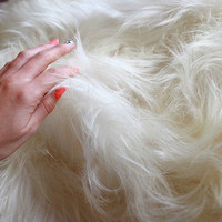 ON SALE Genuine Natural Icelandic Sheepskin Rug, Pelt, super soft long fur XL Large - Creamy White Extremally Soft Shaggy rug <3