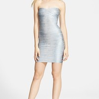 Women's Herve Leger Strapless Foil Bandage Dress