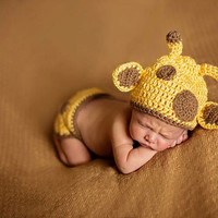 Infant Giraffe Crocheted Diaper Cover and Hat set