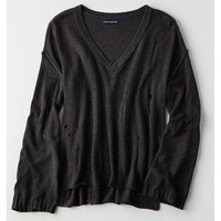 AEO Slouchy Destroyed Sweater, Heather Gray