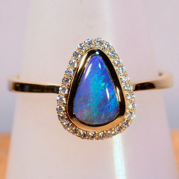 HAND MADE Solid Australian Black Opal & diamond cluster Solid 18ct Yellow Gold dress / engagement ring (13608)