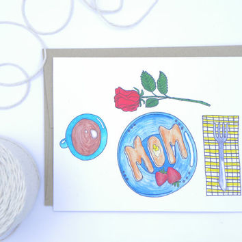 Breakfast In Bed - Mothers Day Card