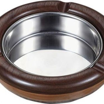 NEW Georgia Natural Maple Wood and Walnut Round Cigarette Ashtray 3 Rests