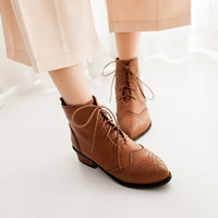 Lace Up Ankle Boots PU Leather Shoes Woman