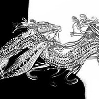 """Asian Dragon Pin Brooch Sterling Silver Cannetille Filigree 2"""" Vintage Antique 1900's"""