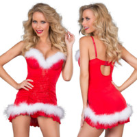 Women Temptation Deep V Backless Hollow Sleeveless Strap Mini Dress Sleepwear Christmas Clothes
