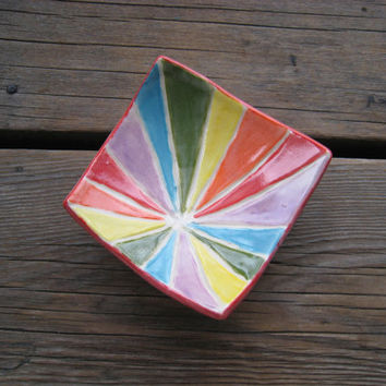 Rainbow Ring Dish - Ceramics and Pottery - Small Square Dish - Ceramic Tray - Pottery Dish - Geometric Decor - Small Gift Ideas