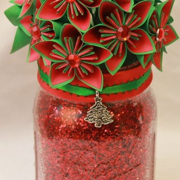 Christmas Glitter Jars / Christmas Mason Jar / Mason Jar Decor / Flower Mason Jar / Christmas Jar Decor / Christmas Flowers