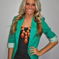 Teal Striped Cuff Blazer