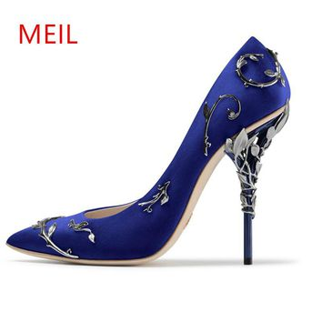 MEIL heels shoes women luxury 2017 Metallic gold sexy high heels bridal shoes pink stiletto women pumps designer shoe