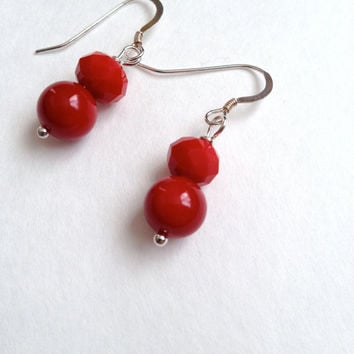 Coral and Crystals Earrings - Red Earrings