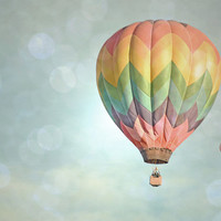 Hot Air Balloon Photography Print 11x14 Fine Art Dreamy New Mexico Whimsical Sky Landscape Photography Print.