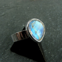 Rainbow Moonstone Ring Sterling Silver Size by JessicaCoxJewelry