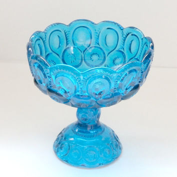 vintage yosemite aqua blue compote pedestal bowl~retro antique turqouise candy dish wedding centerpiece