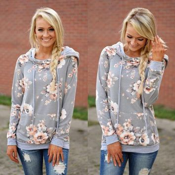 Gray Hooded Printed Sweater
