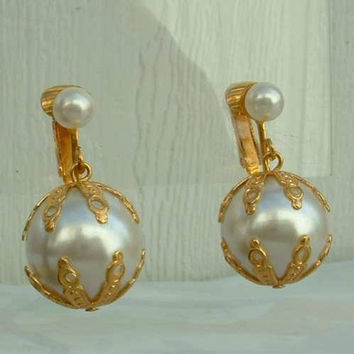 CELEBRITY NY Faux Pearl Dangle Clip Earrings Vintage New Old Stock