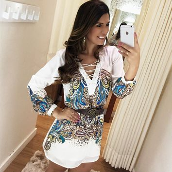 White Printed Sleeve V-Neck Dress