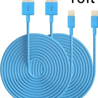 Eaglewood(TM) 2PCs 10ft Extended Extra Long 8 Pin to USB Sync and Charging Cable Charger Power Cord for iPhone 6/ 6 Plus, iPhone 5/ 5s/ 5c, iPod Touch 5th, Nano 7th, and iPad 4 Air Mini-Compatible with IOS 8 (Blue)