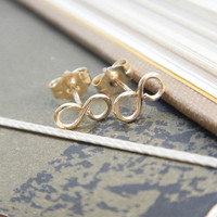 Tiny Infinity Stud Earrings in 14k Gold Fill by TeaHarvest on Etsy
