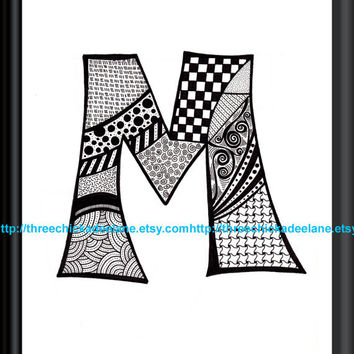 "Letter ""M"" Zentangle 8 x 10 Art Print on High Quality Linen Paper"