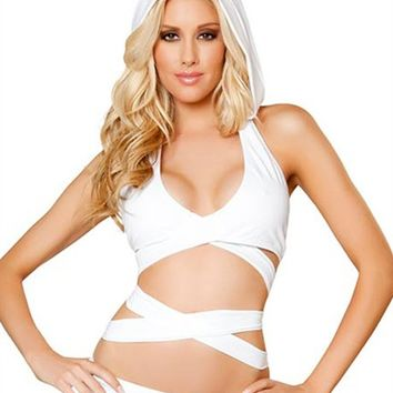 White Hooded Wrap Around Top : Cute Rave Hoodie Tops for Outfits