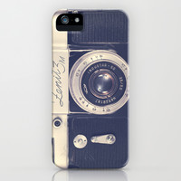 Retro - Vintage Black Film Camera on Beige Background iPhone & iPod Case by AC Photography