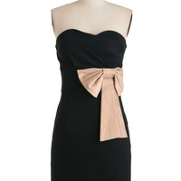ModCloth Mid-length Strapless Shift Evening Reservations Dress