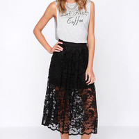 Evening Escapade Black Lace Midi Skirt