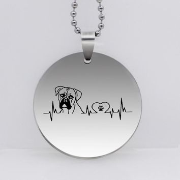 PAW PRINT Stainless Steel Boxer Love Dog Paw Pendant Necklace Heartbeat Dog Jewelry Paw Print Gift Drop Shipping YLQ6193