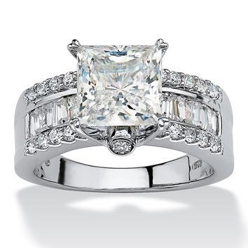 3.43 TCW Princess-Cut Cubic Zirconia Platinum over Sterling Silver Engagement Anniversary Ring
