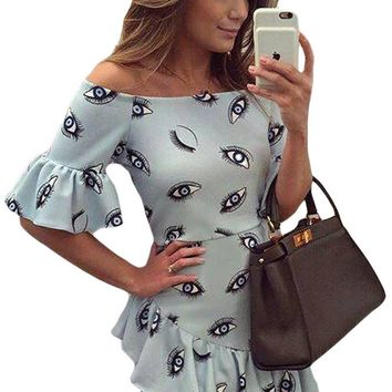Chicloth Eye Pattern Print Baby Blue Off Shoulder Dress