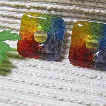 SQUARE Rainbow Bead / Kiln Cast Fused Glass Donut / Medium Focal Bead / Supplies / Red Orange Yellow Green Blue Purple